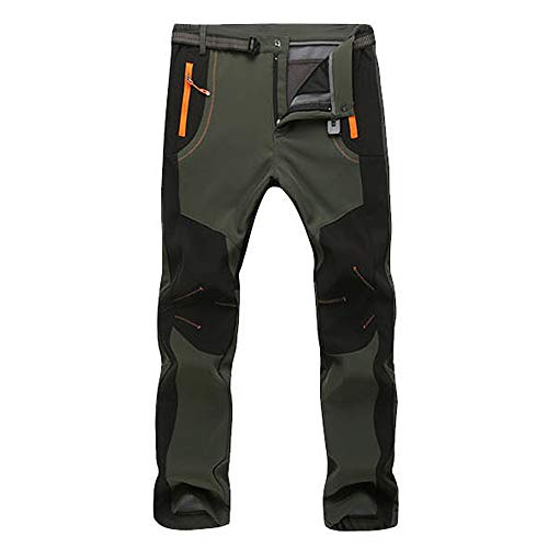Jacquard Cashmere - Sunhusing Couple Outdoor Waterproof Windproof Zip Hiking Skiing Pants Winter Warm Cashmere Thick Trousers