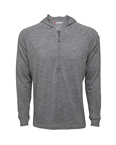 7EVEN Clothing Men's Merino Wool Hoodie - Mid-Weight 230 GSM - Wicking Breathable Anti-Odor - Half Zip - Small