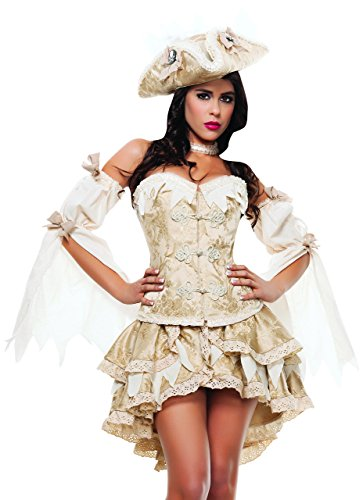 Starline Women's Ghost Ship Pirate Sexy 4 Piece Costume Dress Set, Gold, Large
