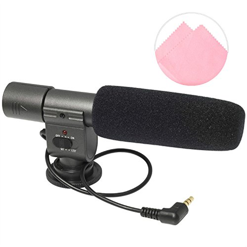 First2savvv SG108 Professional Interview condenser shotgun stereo microphone mic fits any DV& DSLR camera with microphone hole and path - Nikon D7000 D90 D5100 D5000 D3100 D3000 D700 D300s D3X D3S D800 D800E D3200 D4 D600 D5200 COOLPIX P7100 COOLPIX P510 COOLPIX L310 COOLPIX L810 COOLPIX P520 COOLPIX L820 Film SLR Camera F6 D7100 COOLPIX L320 D610 D810 D750 D5500 LEICA S LEICA S-E LEICA LEICA V-LUX LEICA S 2 D3300 COOLPIX L830 /L330 /P600 /P530 with pink screen Cleaning Cloth