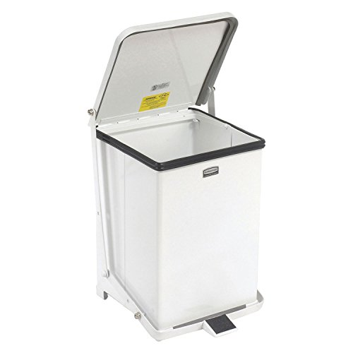 [Rubbermaid Commercial FGST7ERBWH The Defenders Steel Step Trash Can with Retainer Bands, 7-Gallon, White] (Square Steel Step)