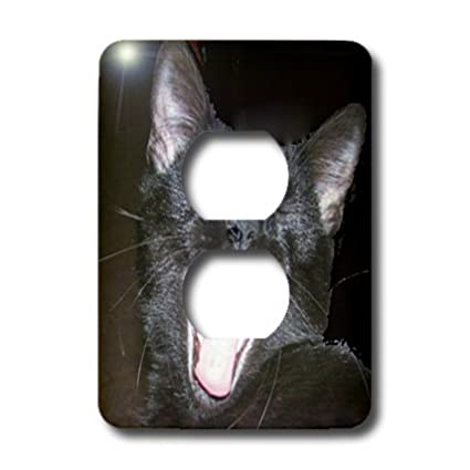3drose Lsp 6026 6 Black Cat Yawning 2 Plug Outlet Cover Multicolor