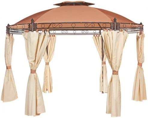 Norcamp Regency Heavy Duty redondo Gazebo 3, 5 m – marrón: Amazon.es: Jardín