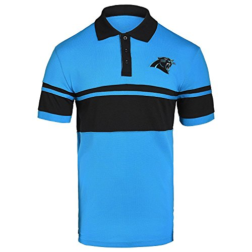 Panthers Logo Golf - FOCO NFL Carolina Panthers Football Team Logo Cotton Stripe Polo Shirt, Team Color, X-Large
