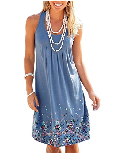 Amborido Womens Sleeveless Printed Dresses