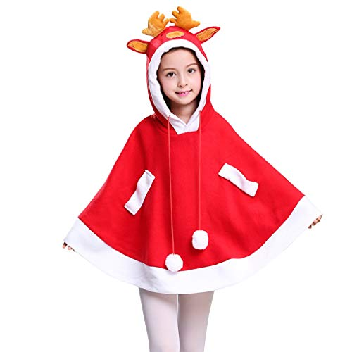 Christmas Costume - Children's Clothing Girl's Cape Cloak Boy's Cloak Christmas Costume Deer Shawl Santa Claus Christmas (one Size) -