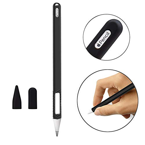 - YICTONE Case Compatible New Apple Pencil 2nd Generation Elastic Protective Silicone Sleeve iPencil 2 Grip Skin Cover Holder Pocket Pen Stick Accessories Kit for iPad Pro 11 12.9 inch 2018 (Black)