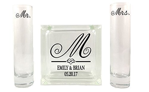 - Fancy Initial - Monogram Sand Unity Ceremony Set - Small Square