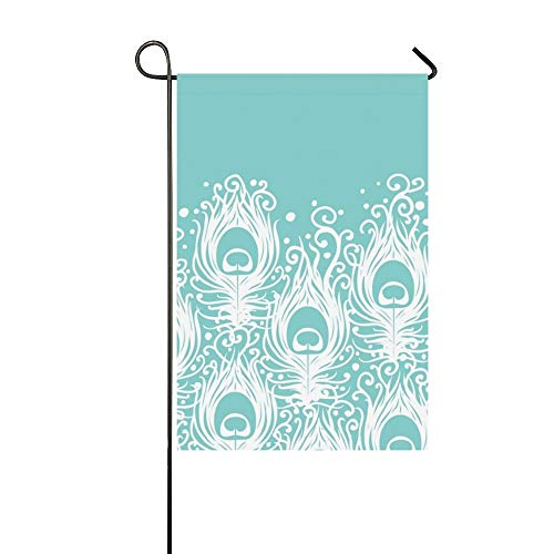 Jnseff Home Decorative Outdoor Double Sided Soft Peacock Feathers Horizontal Garden Flag,House Yard Flag,Garden Yard Decorations,Seasonal Welcome Outdoor Flag 12 X 18 Inch Spring Summer Gift
