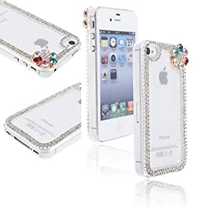 Clear Transparent Silver Chain Frame Shell Case for Apple iPhone 4/4s