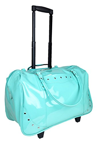 Patent 2-Wheel Computer/Laptop Rolling Bag Carry-On Trolley Tote Handbag (Turquoise)