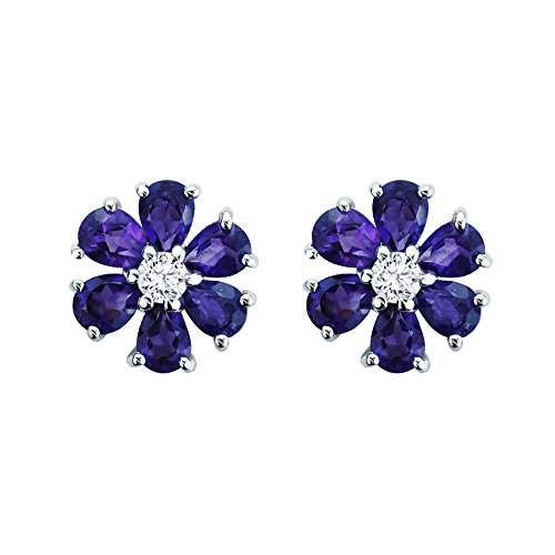 Solid Sterling Silver Pear-Shaped 1.8carat Natural Amethyst Flower Style Cute Stud Earrings for Women, Fine Jewelry High Polished Sterling Silver Studs (Amethyst Flower Stud Earrings)