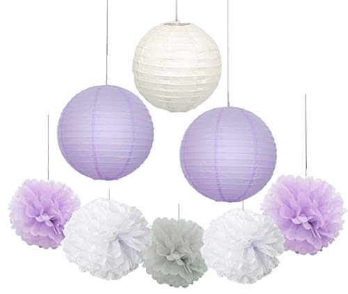 Elephant Baby Shower Decorations 16 pcs White Lavender Grey Purple Tissue Paper Pom Pom Paper Lanterns for Lavender Themed Party Bridal Shower Decor Birthday Decorations]()