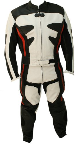 Perrini 2pc Alienator Motorcycle Riding Racing Leather Track Suit w/ Armor Red/White/Black