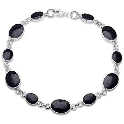 - Oval Simualted Black Onyx .925 Sterling Silver Bracelet 7.5