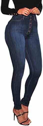 8c48cd47663 iLUGU Women High Waisted Skinny Denim Jeans Stretch Slim Jean Jacket Women  Pants Calf Length Jeans