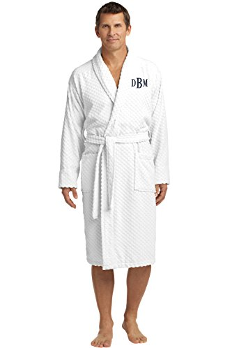 Personalized Checkered Terry Robe with Embroidered Name, White, Large/X-Large (Bathrobe Monogrammed)