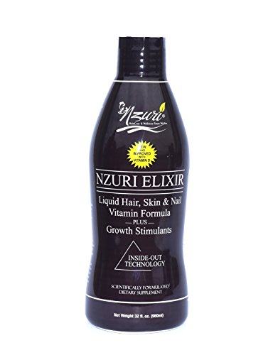 Nzuri Elixir Liquid Hair, Skin and Nail Vitamin Formula Plus Growth Stimulants, 32 Ounce