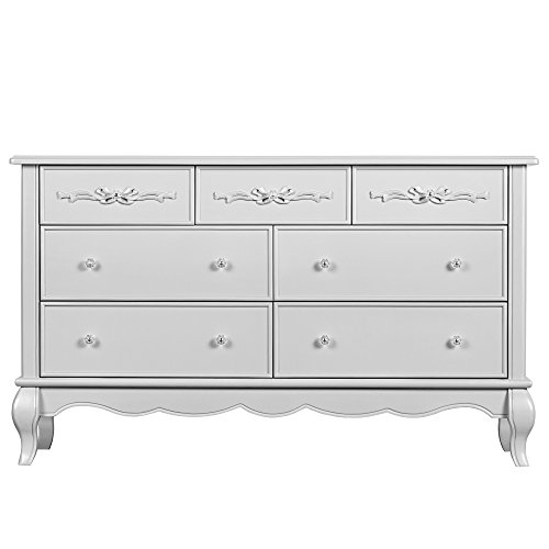 Evolur Aurora 7 Drawer Double Dresser in Akoya Grey Pearl/ Silver - Gray Finish Mist