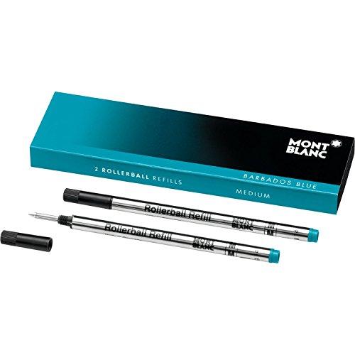 Montblanc Rollerball Refills (M) Barbados Blue 106932 - Quick-Drying Pen Refills for Montblanc Rollerball and Fineliner Pens - 2 x Bright Blue Pen Cartridges ()