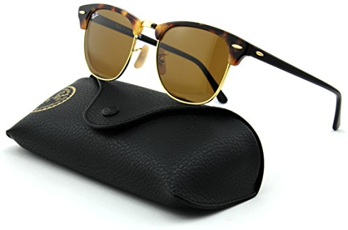 Ray-Ban RB3016 Clubmaster Unisex Sunglasses (Spotted Brown Havana Frame/Brown Lens 1160, - Ray Sunglasses Ban Clubmaster
