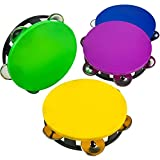 Kicko Set of 4 Plastic Neon Tambourine - 5.5 Inch Colorful Assorted Pieces of Musical Instrument for Fiesta Celebration, Church and School Choir - Party Favor and Educational Toys for Kids by
