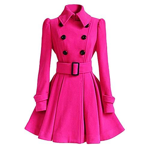 - HGWXX7 Women's Winter Warm Fashion Woolen Coat Trench Parka Jacket Belt Overcoat Outwear(L,Hot Pink)
