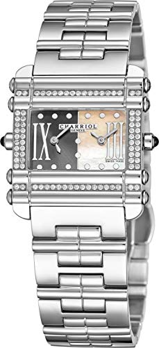 Charriol Actor Womens Stainless Steel Diamond Watch - Grey and Mother of Pearl Face with Dual Time Zones and Sapphire Crystal - Swiss Made Quartz Rectangular Watch for Ladies CCHDTD.110.HDT03