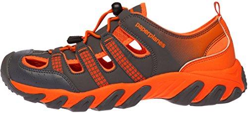 Paperplanes-1326 Unisex Gesloten Teen Leer Aqua Tracking Sandalen Schoenen Grijs Oranje