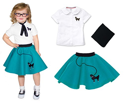 50s Poodle Skirt Teen Costumes (Toddler 3 Piece Poodle Skirt Costume Set Teal 2T)