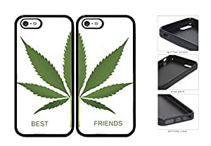Green Weed Leaf Best Friends Set Rubber Silicone TPU Cell Phone Case Apple iPhone 5 5s