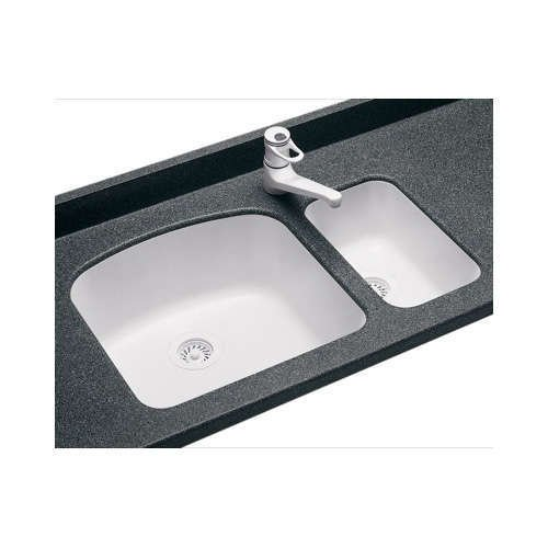 Swanstone US01711SB.010 Solid Surface Undermount Single-Bowl Kitchen Sink, 11-in L X 17.75-in H X 6.75-in H, White