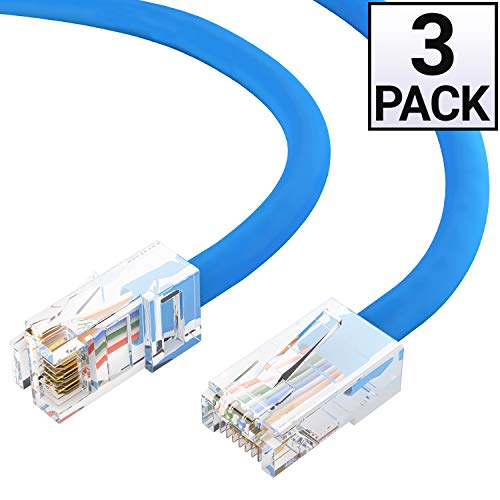 GOWOS Cat5e Ethernet Cable (3 Pack - 1 Feet) Blue - 24AWG Network Cable with Gold Plated RJ45 Non-Booted Connector - 10 Gigabit/Sec High Speed LAN Internet/Patch Cable - ETL Listed
