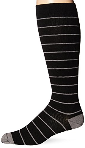 Dr. Scholl's Men's Fashion Compression Stripe 1 Pack Sock, Black, 10-12 (Dr Scholls Compression Socks)