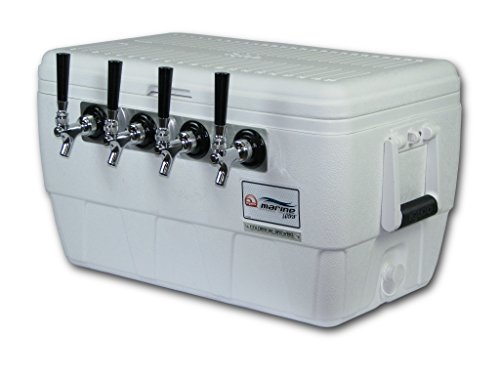 Coldbreak Brewing Equipment CBJB48QT4T Jockey Box, 4 Tap, Marine Pass Through, 48 quart Cooler, 50' Coils, 0.25'' ID, 0.3125'' OD, Stainless Steel, White by Coldbreak Brewing Equipment
