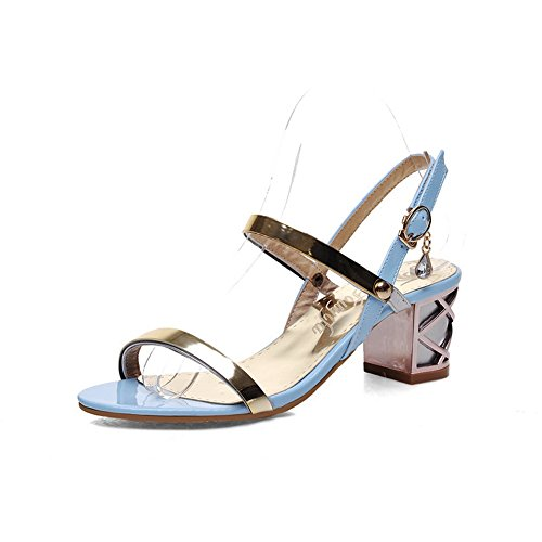 1TO9 Womens Studded Rhinestones Metal Buckles Sequins Patent Leather Sandals Blue iqXtZZ