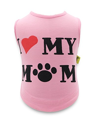(DroolingDog Dog Clothes I Love My Mom Shirt Puppy Shirts for Small Dogs Girl, XS, Pink)