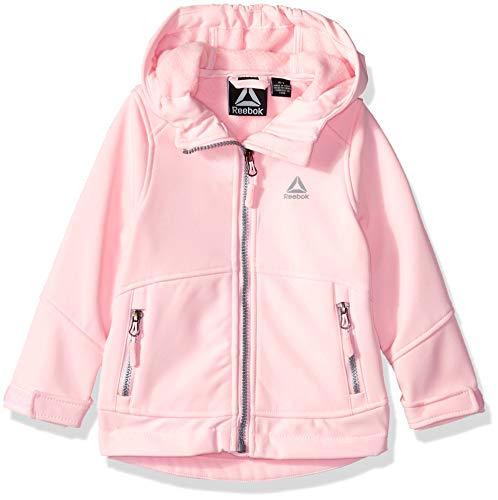(Reebok Girls' Toddler Active Hooded Softshell Jacket, Light Pink, 4T)