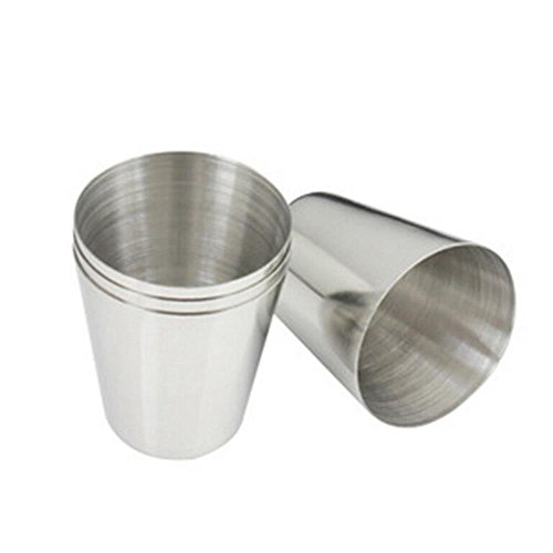 4 Pcs Mini Stainless Steel Cup Mug Drinking Beer Tea Coffee Tumbler Camping Travel,3.7cm x 2.5cm x 4.3cm By Crqes (Metal Shot Glass)