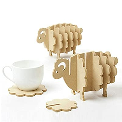 Holder Coasters for Drinks 3D Sheep Shaped Cup Mug Mat Wood Coasters Home Decor DIY Handmade Coaster Non-slip mat Custom insulated pad. - *Model Number: 3D Sheep Shaped Cup Mug Mat,No painted, no odor, easy to clean,100% brand new and high quality with excellent design. *Material: The Coaster Set Is Made From 100% Organically Wood (5mm High Density Fiberboard) ,Eco-Friendly And Non Toxic Wood Is Mold-Resistant, Durable And Will Definitely Last Long. *Size:17*8.6*10.5cm(L*W*H),Helps to prevent furniture damage and decorate your home,Natural wooden, cute sheep shape, creative holder as table decoration. - living-room-decor, living-room, home-decor - 41ITzoCzFgL. SS400  -