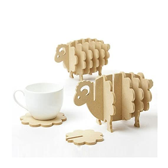 Holder Coasters for Drinks 3D Sheep Shaped Cup Mug Mat Wood Coasters Home Decor DIY Handmade Coaster Non-slip mat Custom insulated pad. - *Model Number: 3D Sheep Shaped Cup Mug Mat,No painted, no odor, easy to clean,100% brand new and high quality with excellent design. *Material: The Coaster Set Is Made From 100% Organically Wood (5mm High Density Fiberboard) ,Eco-Friendly And Non Toxic Wood Is Mold-Resistant, Durable And Will Definitely Last Long. *Size:17*8.6*10.5cm(L*W*H),Helps to prevent furniture damage and decorate your home,Natural wooden, cute sheep shape, creative holder as table decoration. - living-room-decor, living-room, home-decor - 41ITzoCzFgL. SS570  -