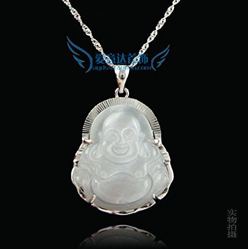 TKHNE 925 silver inlaid opal necklace pendant retro Buddha Laughing Buddha silver jewelry