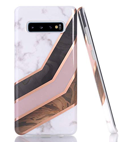 BAISRKE Galaxy S10 Plus Case, Rose Gold Lines White Marble Geometric Design Slim Flexible Soft Silicone Bumper Shockproof Gel TPU Rubber Glossy Skin Cover Phone Case for Samsung Galaxy S10 Plus 6.4