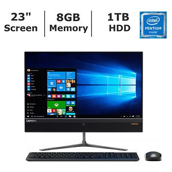 Lenovo IdeaCentre 510 Flagship Premium High Performance All-in-One Desktop (2017 New Edition), 23 inch Full HD Touchscreen, Intel Pentium G4400T Processor, 8GB RAM, 1TB HDD, WiFi, BT, Windows 10