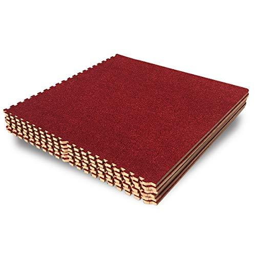 (LaFamille Interlocking Foam Floor Mat 6 Tiles 24 sq.ft Puzzle Carpet Flooring Exercise Square Mats Gym,Playroom Floor Mats for Carpet 2'x2')