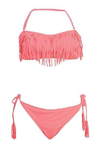 Bikini Fringe Top Swim Suit String Two Piece (Small , Coral Peach)