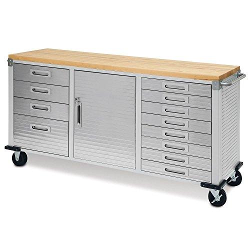 Seville Classics UHD20242 Werkstattwagen mit 12 Schubladen, 182,9 x 50,8 x 95,2 cm, Metall pulverbeschichtet, Buche Holzarbeitsplatte, grau