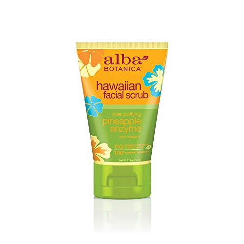 Alba Botanica Pore Purifying Pineapple Enzyme Hawaiian Facial Scrub, 4 oz. (Pack of 6)