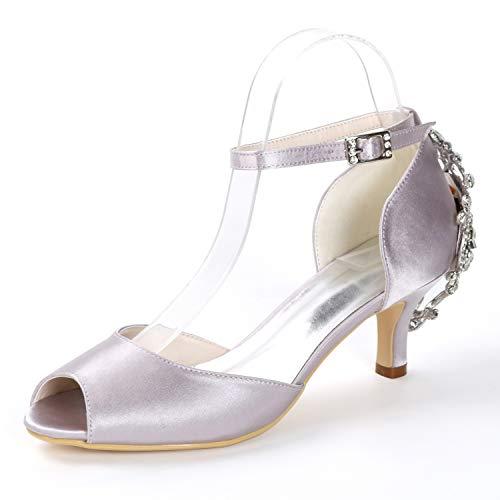 L Cristal Novia Tacones De Zapatos Hebilla Medio Toe Boda yc Peep tacones 6 Cm Medios Gray Tacón TrPqT0