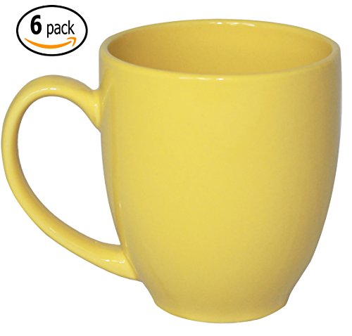 ITI Ceramic Bistro Coffee Mugs with Pan Scraper, 14 Ounce (6-Pack, (Yellow Mug Set)